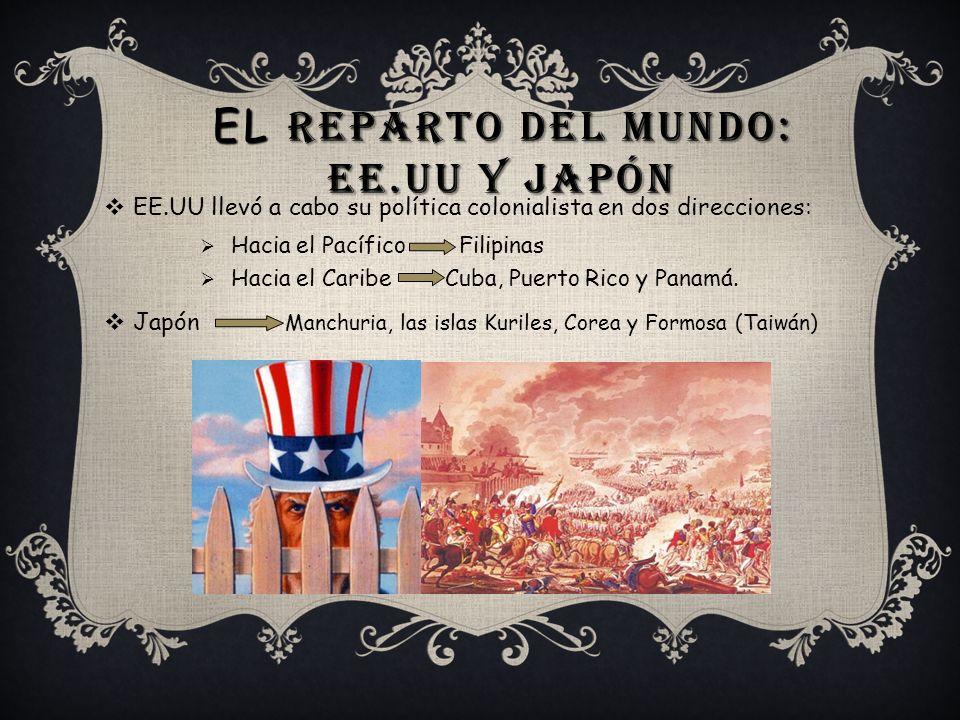 EL REPARTO DEL MUNDO: EE.UU Y JAPÓN EE.UU llevó a cabo su política colonialista en dos direcciones: Hacia el Pacífico Filipinas Hacia el Caribe Cuba,