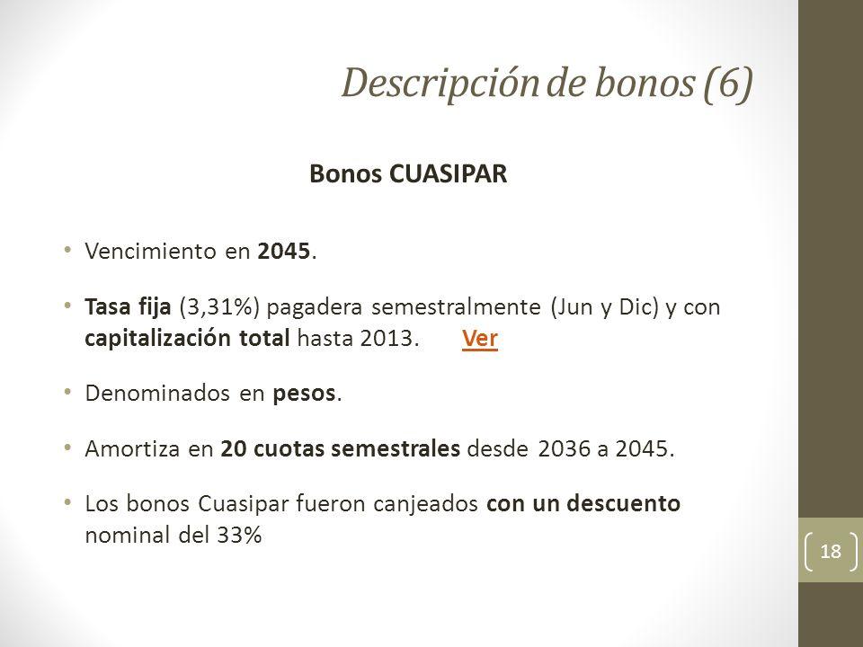Descripción de bonos (6) 18 Bonos CUASIPAR Vencimiento en 2045. Tasa fija (3,31%) pagadera semestralmente (Jun y Dic) y con capitalización total hasta