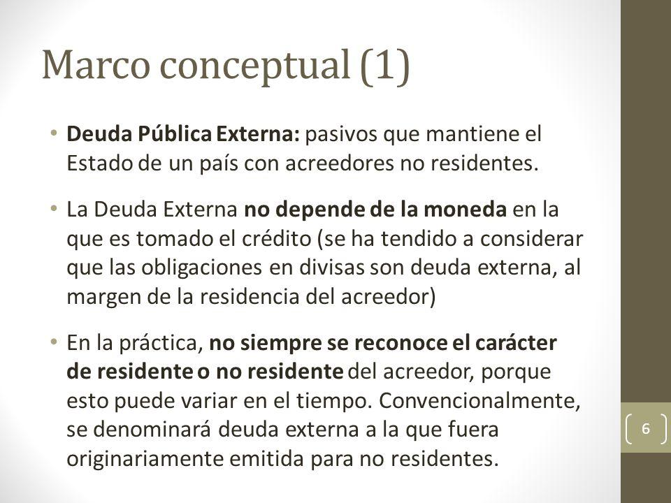 Marco conceptual (1) Deuda Pública Externa: pasivos que mantiene el Estado de un país con acreedores no residentes. La Deuda Externa no depende de la