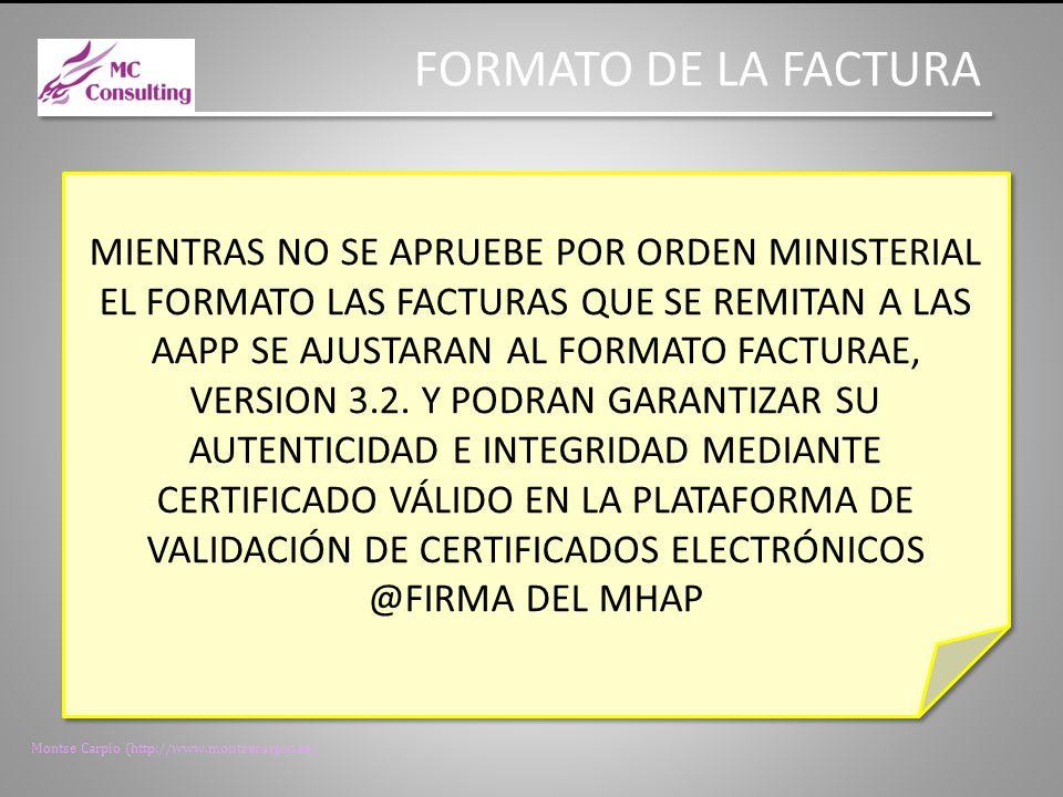 Montse Carpio (http://www.montsecarpio.es) PLAZO DE PRESENTACIÓN DE LAS FACTURAS EN EL REGISTRO OBLIGACIÓN DE LA PRESENTACIÓN DE LAS FACTURAS EN UN REGISTRO ADMINISTRATIVO EN UN PLAZO DE 30 DIAS DESDE LA FECHA DE ENTREGA EFECTIVA DE LAS MERCADERIAS O PRESTACION DE SERVICIOS