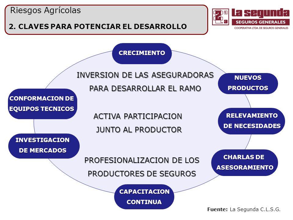 2. CLAVES PARA POTENCIAR EL DESARROLLO Riesgos Agrícolas INVERSION DE LAS ASEGURADORAS PARA DESARROLLAR EL RAMO PROFESIONALIZACION DE LOS PRODUCTORES