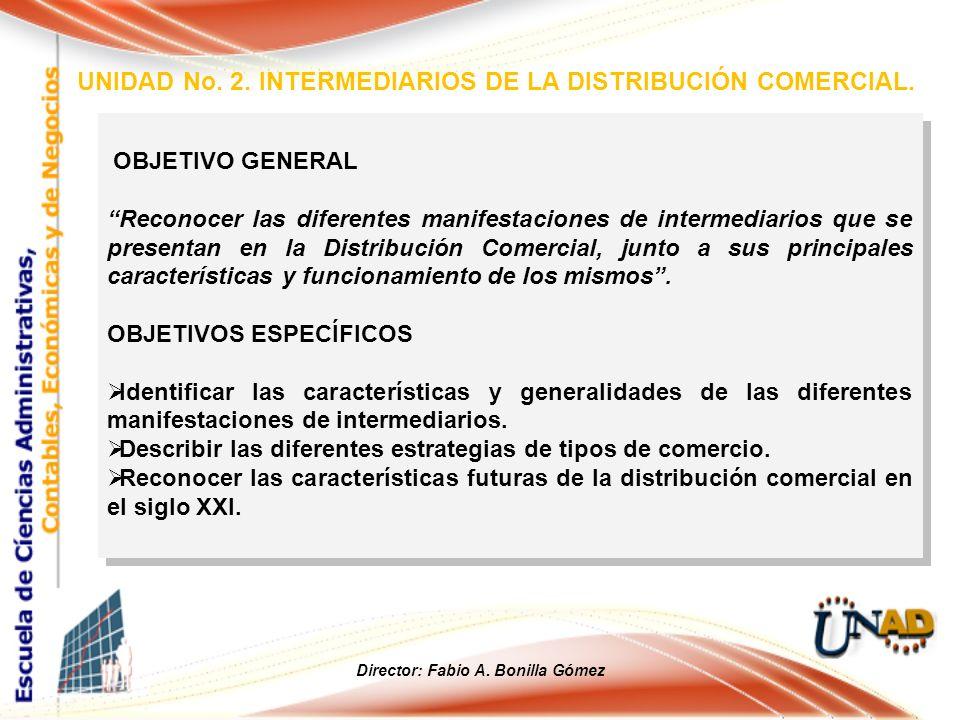 OBJETIVO GENERAL Reconocer las diferentes manifestaciones de intermediarios que se presentan en la Distribución Comercial, junto a sus principales car