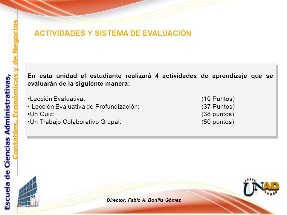 En esta unidad el estudiante realizará 4 actividades de aprendizaje que se evaluarán de la siguiente manera: Lección Evaluativa: (10 Puntos) Lección E