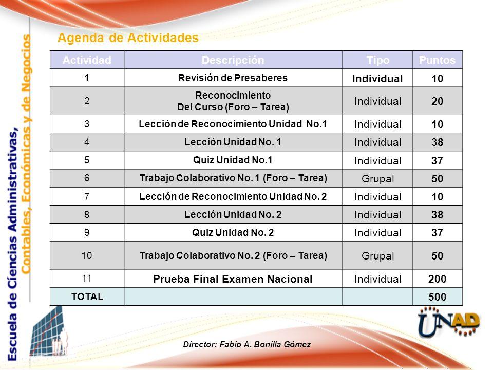 Agenda de Actividades Director: Fabio A. Bonilla Gómez ActividadDescripción Tipo Puntos 1Revisión de Presaberes Individual10 2 Reconocimiento Del Curs