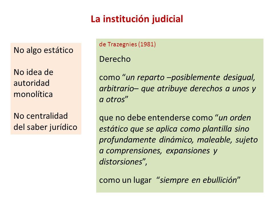 La institución judicial No algo estático No idea de autoridad monolítica No centralidad del saber jurídico de Trazegnies (1981) Derecho como un repart