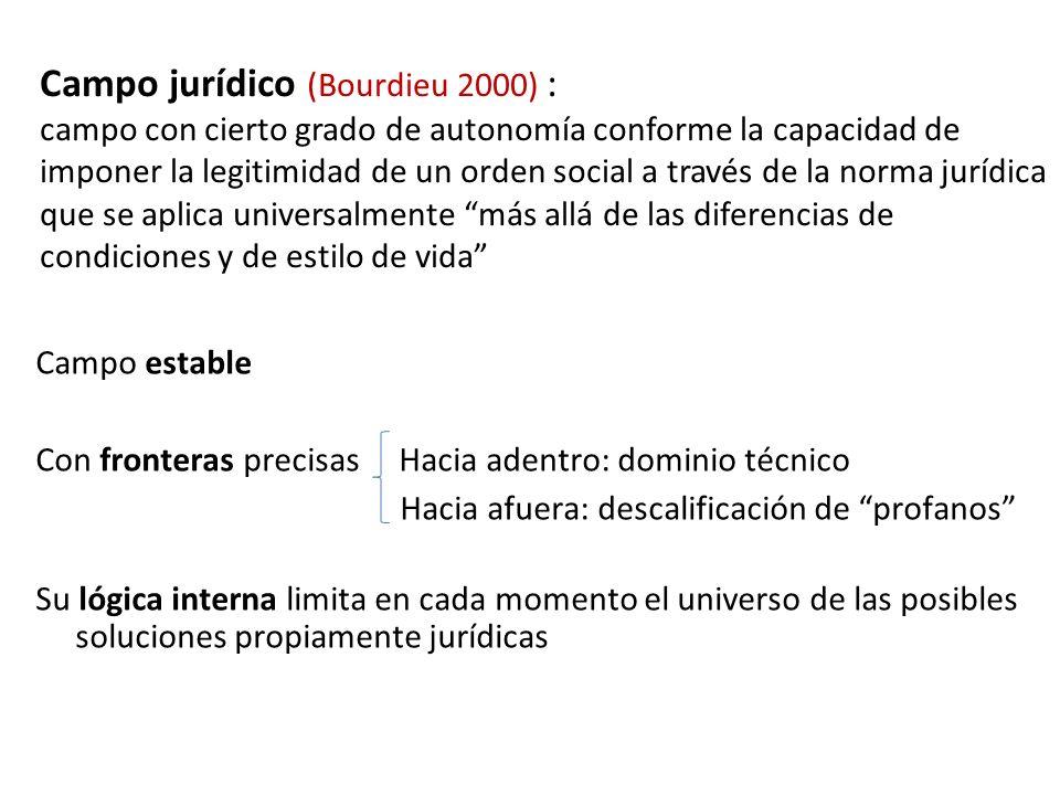 Campo jurídico (Bourdieu 2000) : campo con cierto grado de autonomía conforme la capacidad de imponer la legitimidad de un orden social a través de la