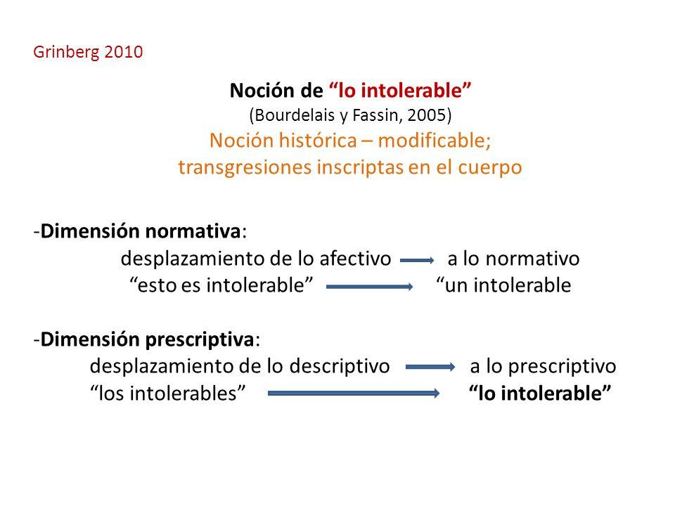 Grinberg 2010 Noción de lo intolerable (Bourdelais y Fassin, 2005) Noción histórica – modificable; transgresiones inscriptas en el cuerpo -Dimensión n