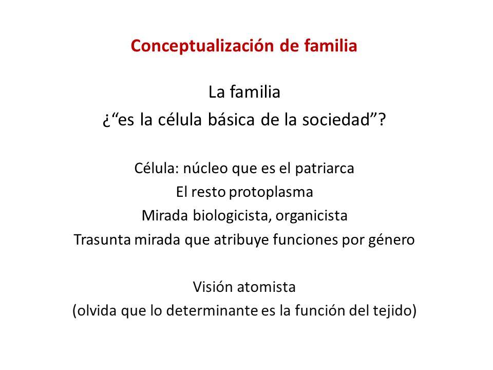 Conceptualización de familia La familia ¿es la célula básica de la sociedad? Célula: núcleo que es el patriarca El resto protoplasma Mirada biologicis