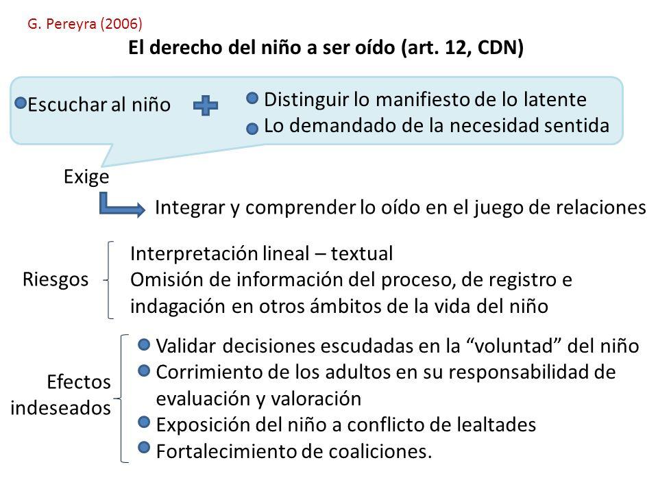 G. Pereyra (2006) El derecho del niño a ser oído (art. 12, CDN) Escuchar al niño Distinguir lo manifiesto de lo latente Lo demandado de la necesidad s