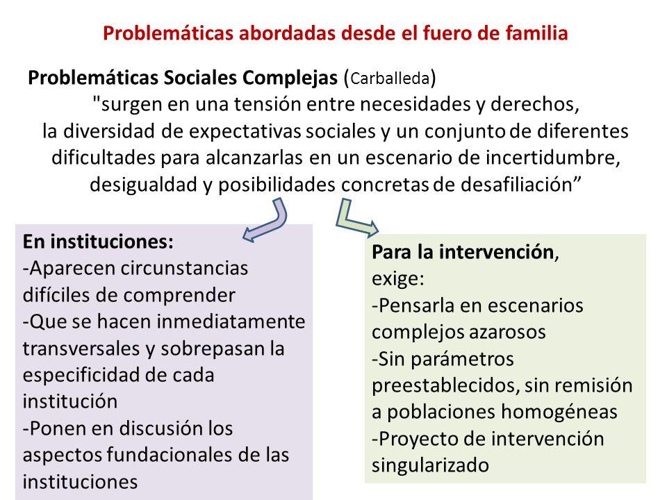 Problemáticas abordadas desde el fuero de familia Problemáticas Sociales Complejas ( Carballeda )