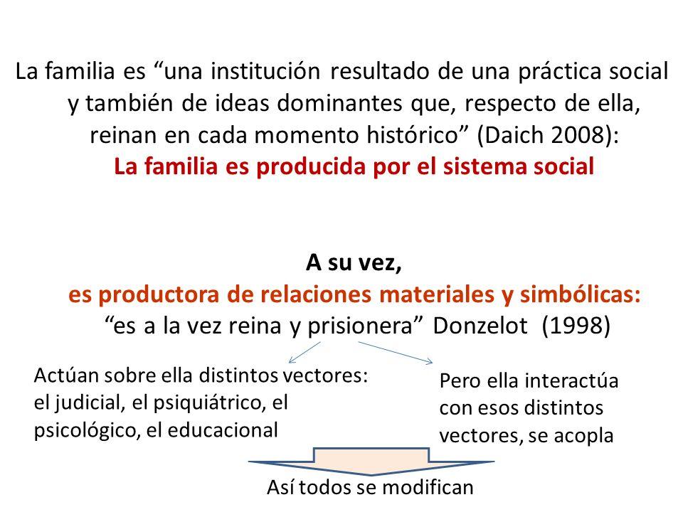 La familia es una institución resultado de una práctica social y también de ideas dominantes que, respecto de ella, reinan en cada momento histórico (