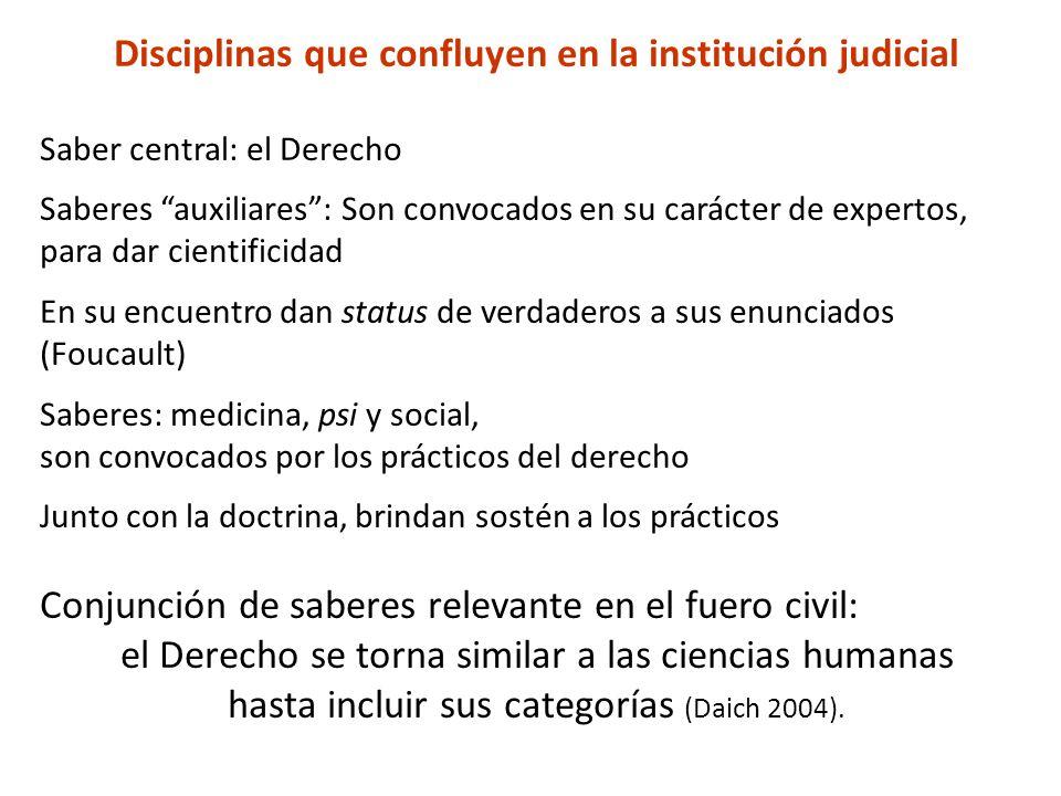 Disciplinas que confluyen en la institución judicial Saber central: el Derecho Saberes auxiliares: Son convocados en su carácter de expertos, para dar