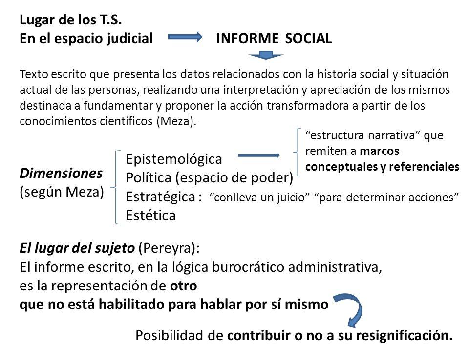 Lugar de los T.S. En el espacio judicial INFORME SOCIAL Texto escrito que presenta los datos relacionados con la historia social y situación actual de
