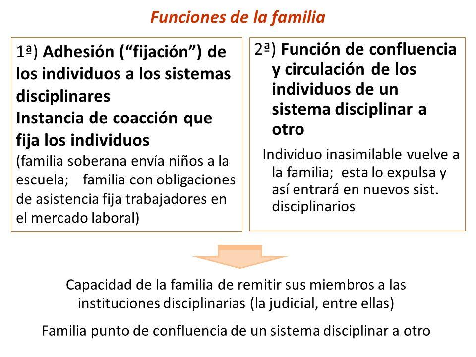 Funciones de la familia 2ª) Función de confluencia y circulación de los individuos de un sistema disciplinar a otro Individuo inasimilable vuelve a la