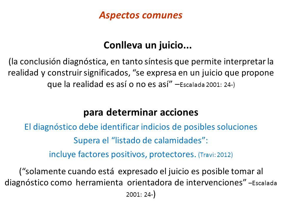 Aspectos comunes Conlleva un juicio... (la conclusión diagnóstica, en tanto síntesis que permite interpretar la realidad y construir significados, se