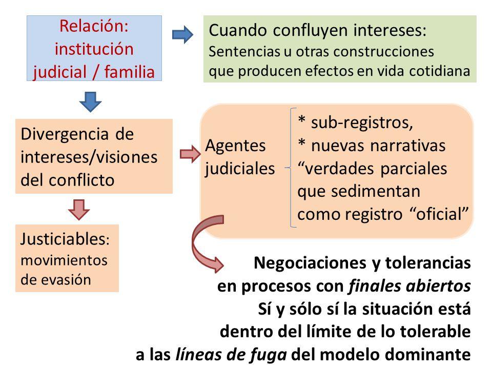 Relación: institución judicial / familia Cuando confluyen intereses: Sentencias u otras construcciones que producen efectos en vida cotidiana Divergen