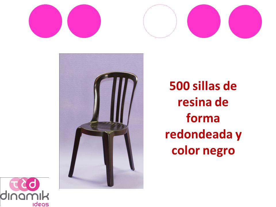 500 sillas de resina de forma redondeada y color negro