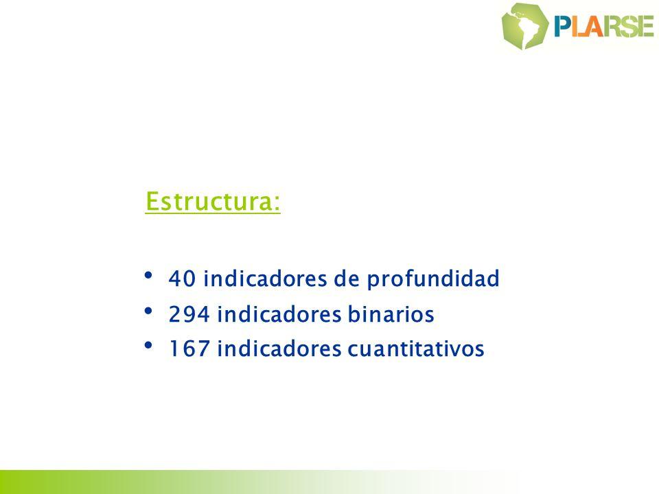Estructura: 40 indicadores de profundidad 294 indicadores binarios 167 indicadores cuantitativos