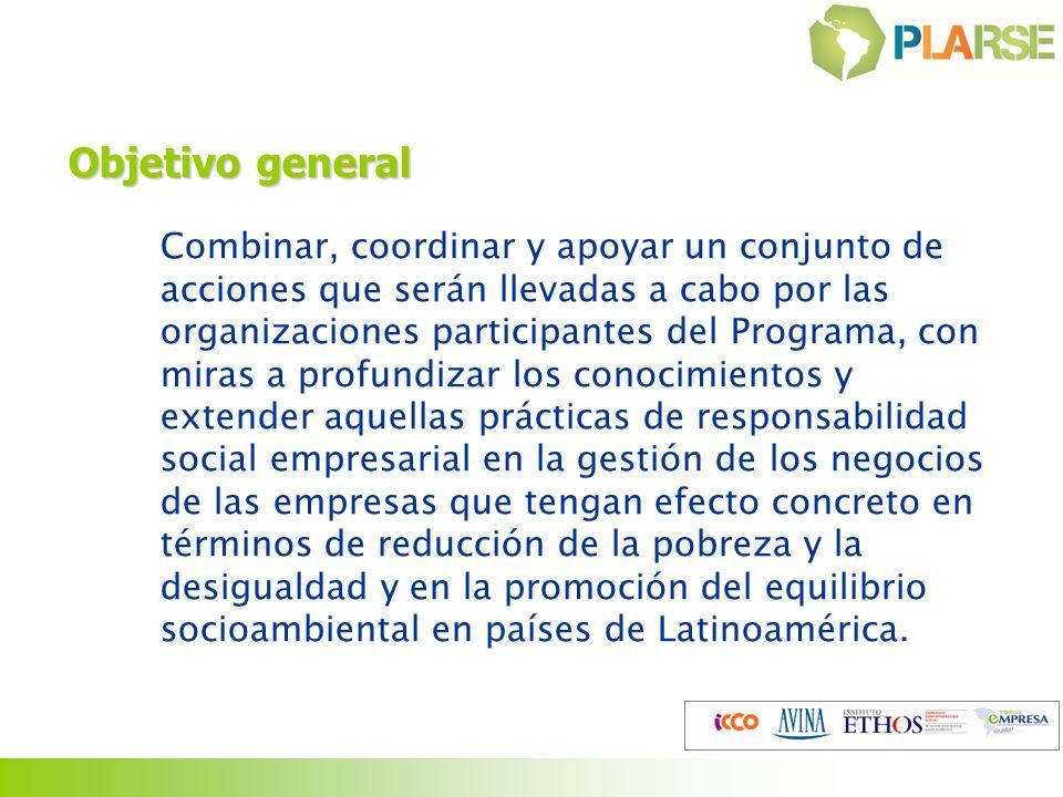 Objetivo general Combinar, coordinar y apoyar un conjunto de acciones que serán llevadas a cabo por las organizaciones participantes del Programa, con
