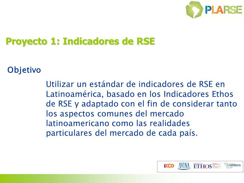 Proyecto 1: Indicadores de RSE Objetivo Utilizar un estándar de indicadores de RSE en Latinoamérica, basado en los Indicadores Ethos de RSE y adaptado