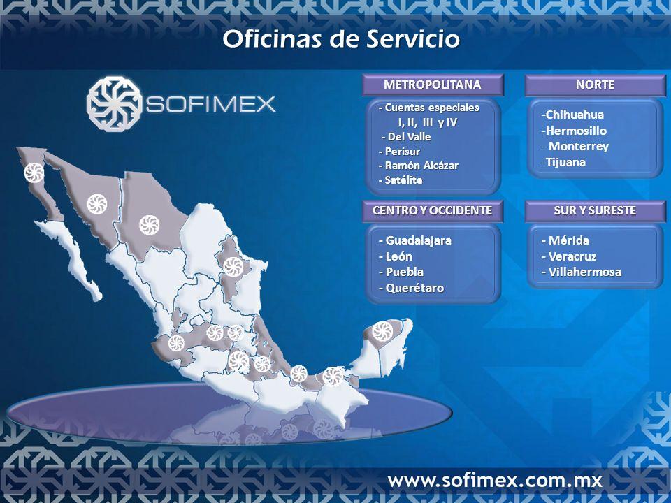 Oficinas de Servicio METROPOLITANA - Cuentas especiales - Cuentas especiales I, II, III y IV I, II, III y IV - Del Valle - Del Valle - Perisur - Perisur - Ramón Alcázar - Ramón Alcázar - Satélite - Satélite NORTE -ChihuahuaChihuahua -HermosilloHermosillo - Monterrey Monterrey -TijuanaTijuana CENTRO Y OCCIDENTE - Guadalajara - Guadalajara - León - León - Puebla - Puebla - Querétaro - Querétaro SUR Y SURESTE - Mérida - Mérida - Veracruz - Veracruz - Villahermosa - Villahermosa