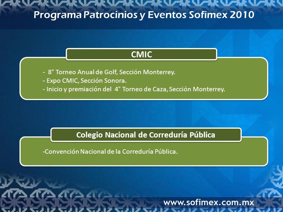 Programa Patrocinios y Eventos Sofimex 2010 Colegio Nacional de Correduría Pública -Convención Nacional de la Correduría Pública.