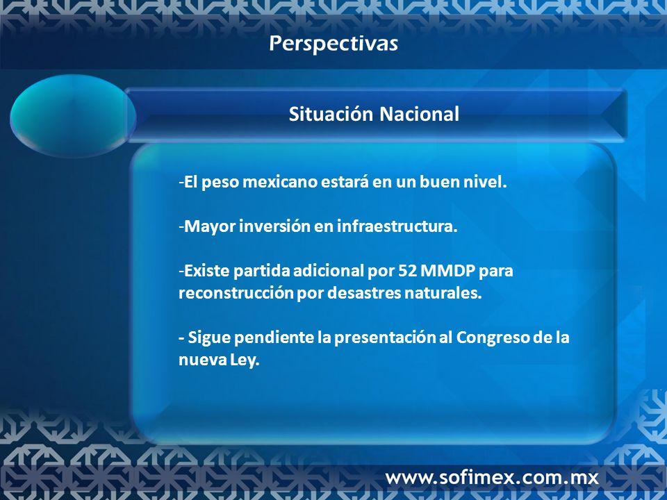 -El peso mexicano estará en un buen nivel. -Mayor inversión en infraestructura.