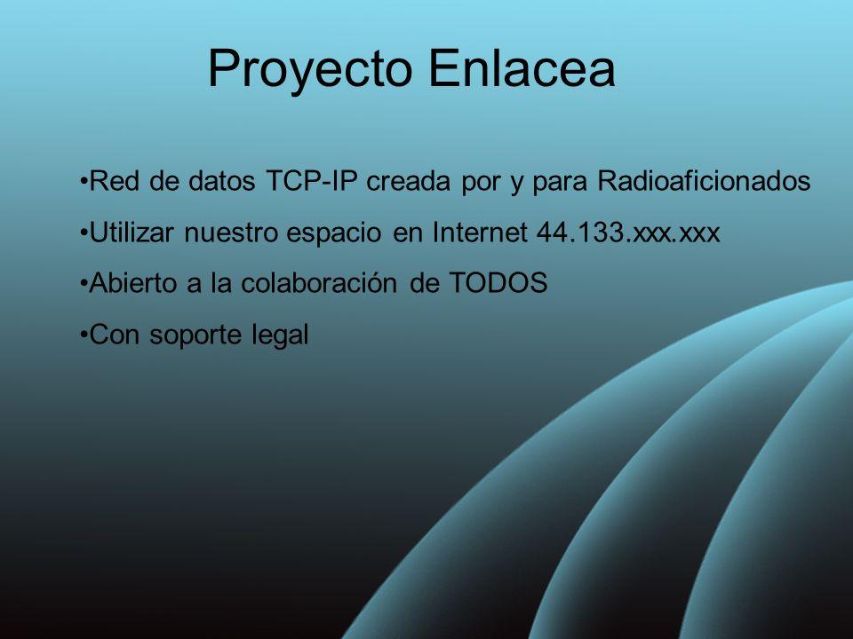 Proyecto Enlacea Red de datos TCP-IP creada por y para Radioaficionados Utilizar nuestro espacio en Internet 44.133.xxx.xxx Abierto a la colaboración de TODOS Con soporte legal