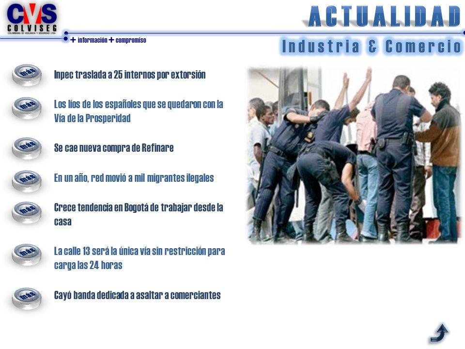 + información + compromiso Inpec traslada a 25 internos por extorsión Los líos de los españoles que se quedaron con la Vía de la Prosperidad Se cae nu