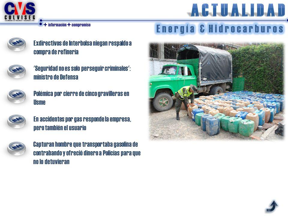 + información + compromiso Exdirectivos de Interbolsa niegan respaldo a compra de refinería 'Seguridad no es solo perseguir criminales': ministro de D