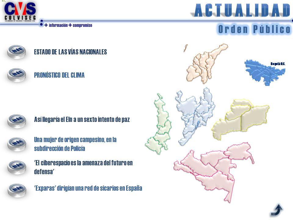 + información + compromiso ESTADO DE LAS VÍAS NACIONALES PRONÓSTICO DEL CLIMA Bogotá D.C. Así llegaría el Eln a un sexto intento de paz Una mujer de o