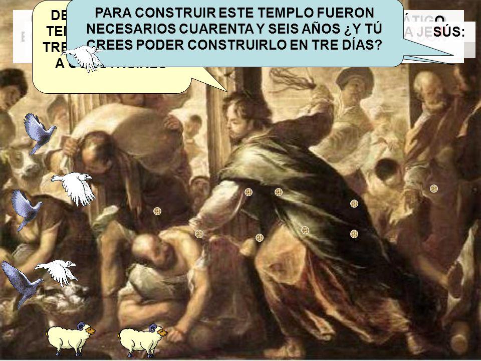 UN DÍA JESÚS FUE A JERUSALEN Y AL ENTRAR EN EL TEMPLO ENCONTRÓ A ALGUNOS HOMBRES VENDIENDO BUEYES, OVEJAS Y PALOMAS Y CAMBIANDO MONEDAS. AL VER ESTO,
