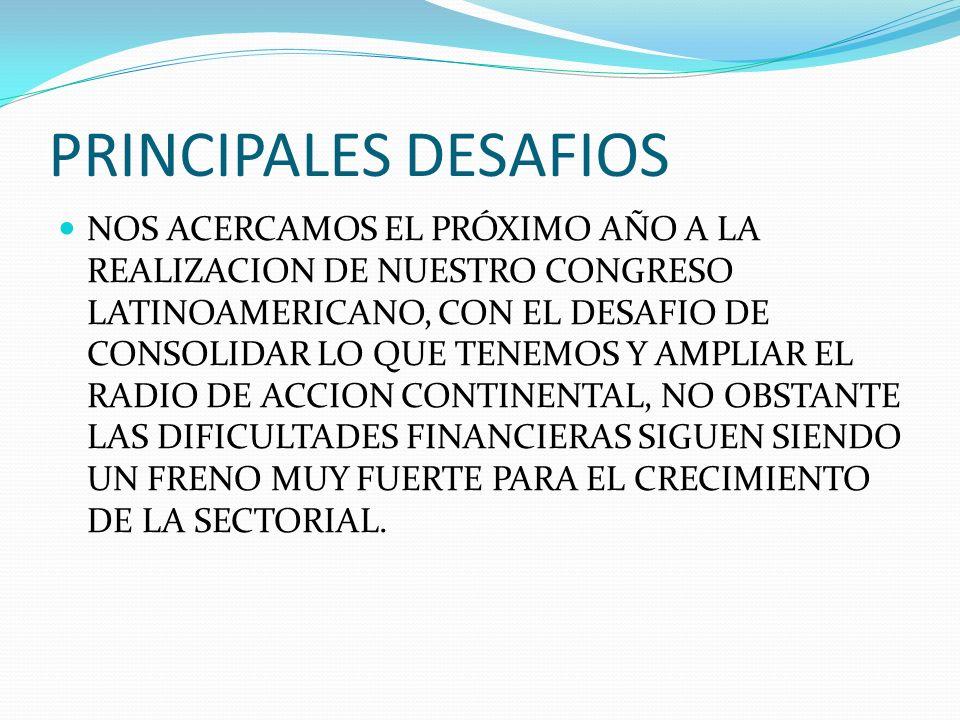 PRINCIPALES DESAFIOS NOS ACERCAMOS EL PRÓXIMO AÑO A LA REALIZACION DE NUESTRO CONGRESO LATINOAMERICANO, CON EL DESAFIO DE CONSOLIDAR LO QUE TENEMOS Y AMPLIAR EL RADIO DE ACCION CONTINENTAL, NO OBSTANTE LAS DIFICULTADES FINANCIERAS SIGUEN SIENDO UN FRENO MUY FUERTE PARA EL CRECIMIENTO DE LA SECTORIAL.