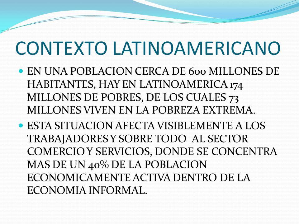 CONTEXTO LATINOAMERICANO EN UNA POBLACION CERCA DE 600 MILLONES DE HABITANTES, HAY EN LATINOAMERICA 174 MILLONES DE POBRES, DE LOS CUALES 73 MILLONES VIVEN EN LA POBREZA EXTREMA.
