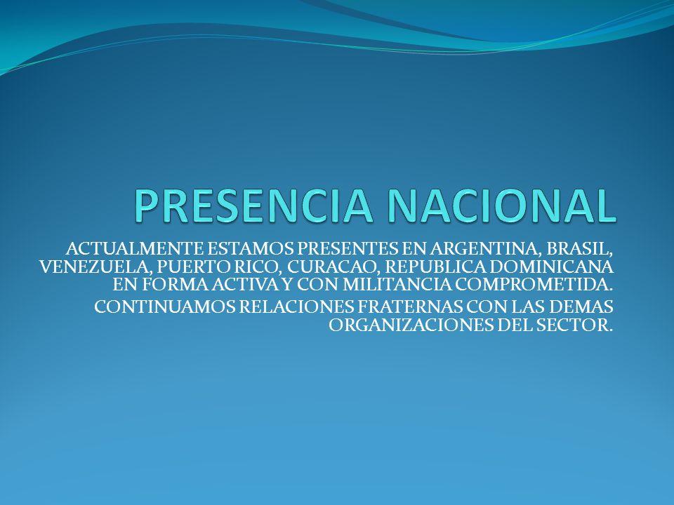 ACTUALMENTE ESTAMOS PRESENTES EN ARGENTINA, BRASIL, VENEZUELA, PUERTO RICO, CURACAO, REPUBLICA DOMINICANA EN FORMA ACTIVA Y CON MILITANCIA COMPROMETIDA.