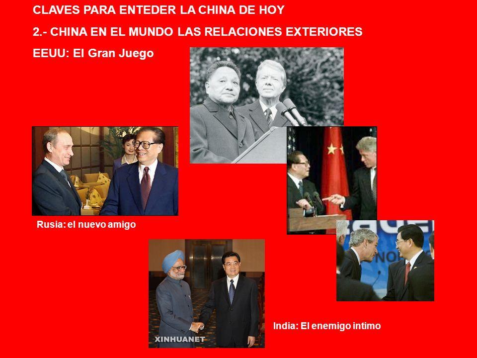 CLAVES PARA ENTEDER LA CHINA DE HOY 2.- CHINA EN EL MUNDO LAS RELACIONES EXTERIORES EEUU: El Gran Juego Rusia: el nuevo amigo India: El enemigo intimo