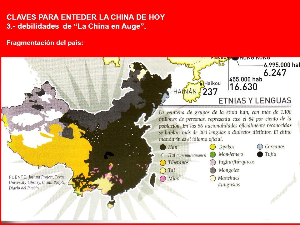 CLAVES PARA ENTEDER LA CHINA DE HOY 3.- debilidades de La China en Auge. Fragmentación del país: