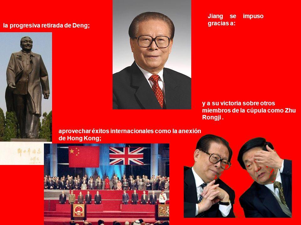 El 19 de febrero de 1997 moría Deng Jiang Zemin pasaba de hecho a controlar el partido y el Estado.