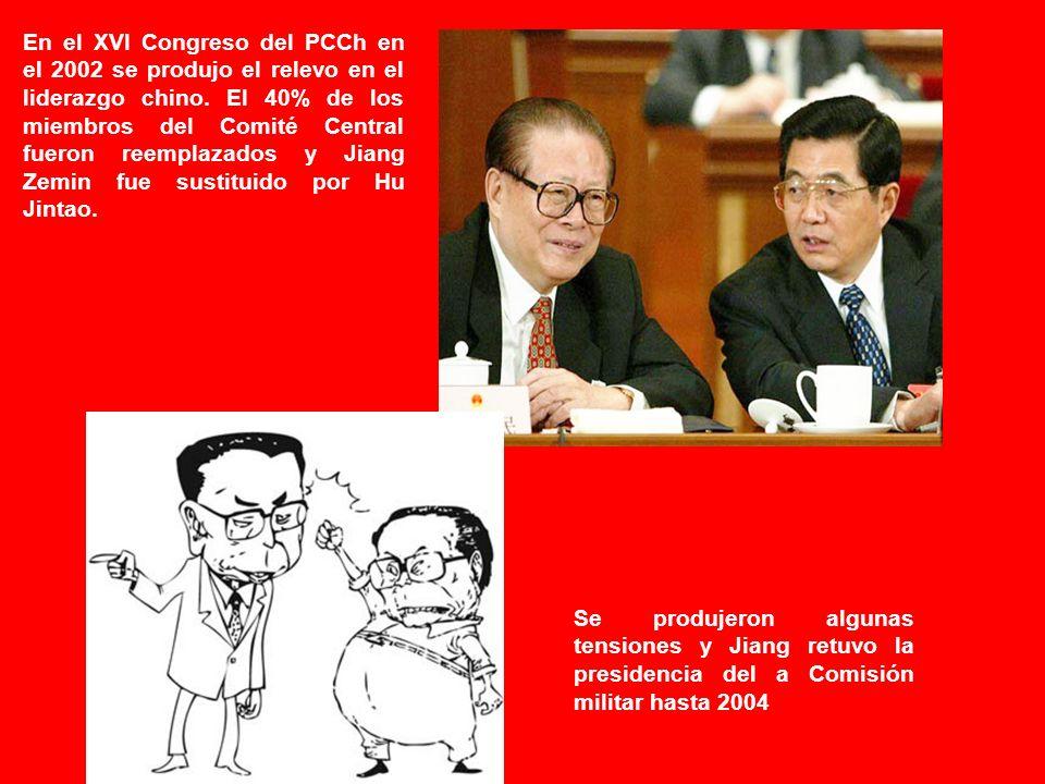 En el XVI Congreso del PCCh en el 2002 se produjo el relevo en el liderazgo chino.