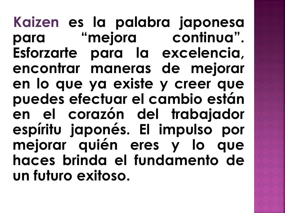 Kaizen es la palabra japonesa para mejora continua.