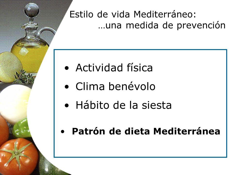 Estilo de vida Mediterráneo: …una medida de prevención Actividad física Clima benévolo Hábito de la siesta Patrón de dieta Mediterránea