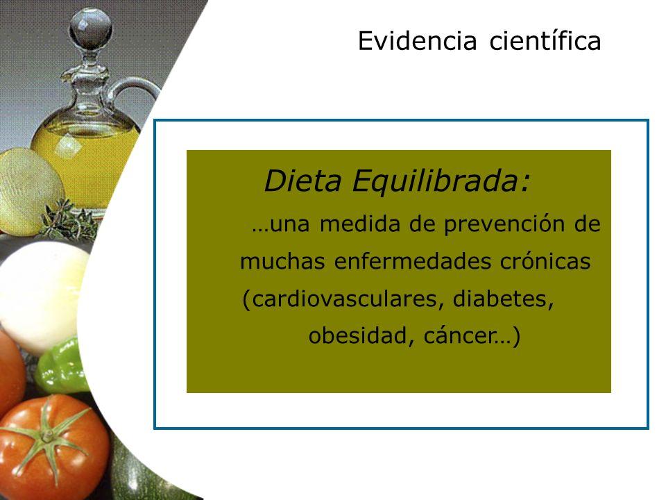 Dieta Equilibrada: …una medida de prevención de muchas enfermedades crónicas (cardiovasculares, diabetes, obesidad, cáncer…) Evidencia científica