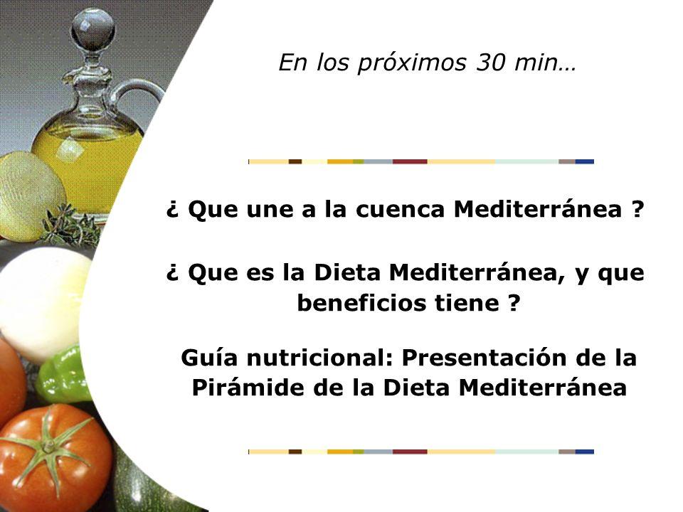 ¿ Que une a la cuenca Mediterránea ? ¿ Que es la Dieta Mediterránea, y que beneficios tiene ? Guía nutricional: Presentación de la Pirámide de la Diet