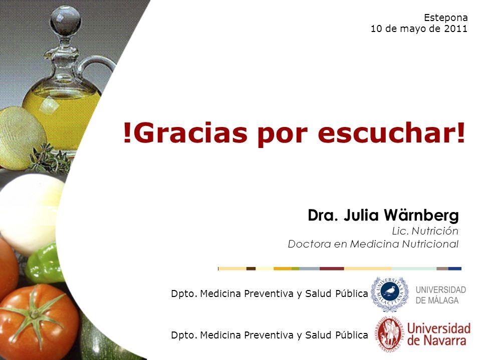 !Gracias por escuchar! Estepona 10 de mayo de 2011 Dpto. Medicina Preventiva y Salud Pública Dra. Julia Wärnberg Lic. Nutrición Doctora en Medicina Nu
