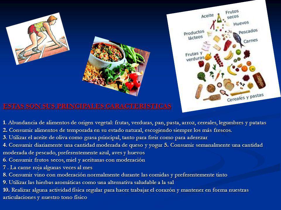 ESTAS SON SUS PRINCIPALES CARACTERISTICAS 1. Abundancia de alimentos de origen vegetal: frutas, verduras, pan, pasta, arroz, cereales, legumbres y pat
