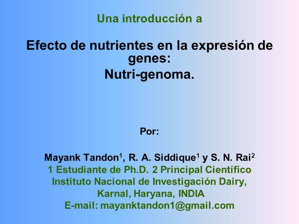 Una introducción a Efecto de nutrientes en la expresión de genes: Nutri-genoma. Por: Mayank Tandon 1, R. A. Siddique 1 y S. N. Rai 2 1 Estudiante de P