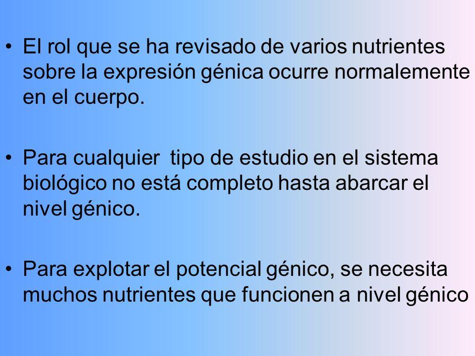 El rol que se ha revisado de varios nutrientes sobre la expresión génica ocurre normalemente en el cuerpo. Para cualquier tipo de estudio en el sistem
