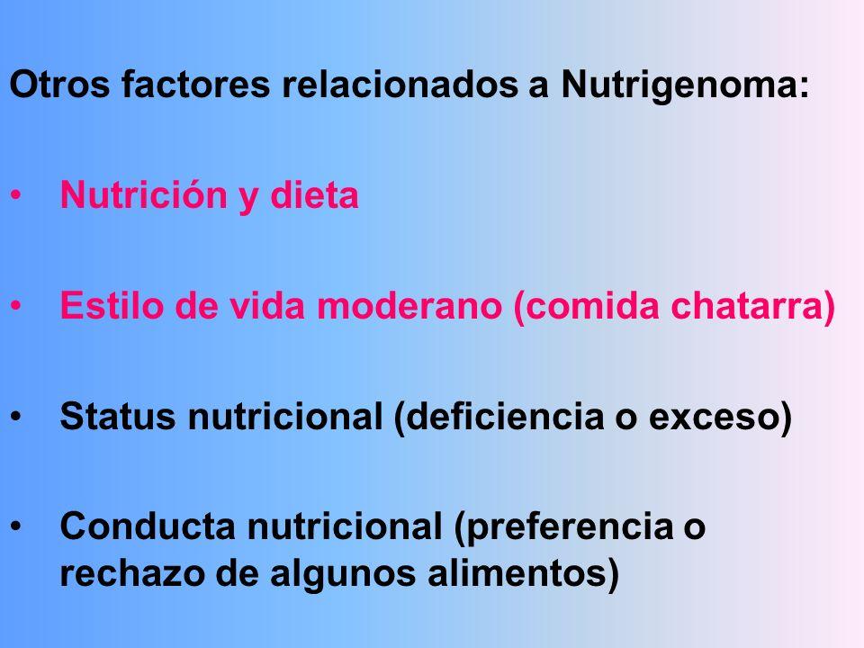 Otros factores relacionados a Nutrigenoma: Nutrición y dieta Estilo de vida moderano (comida chatarra) Status nutricional (deficiencia o exceso) Condu