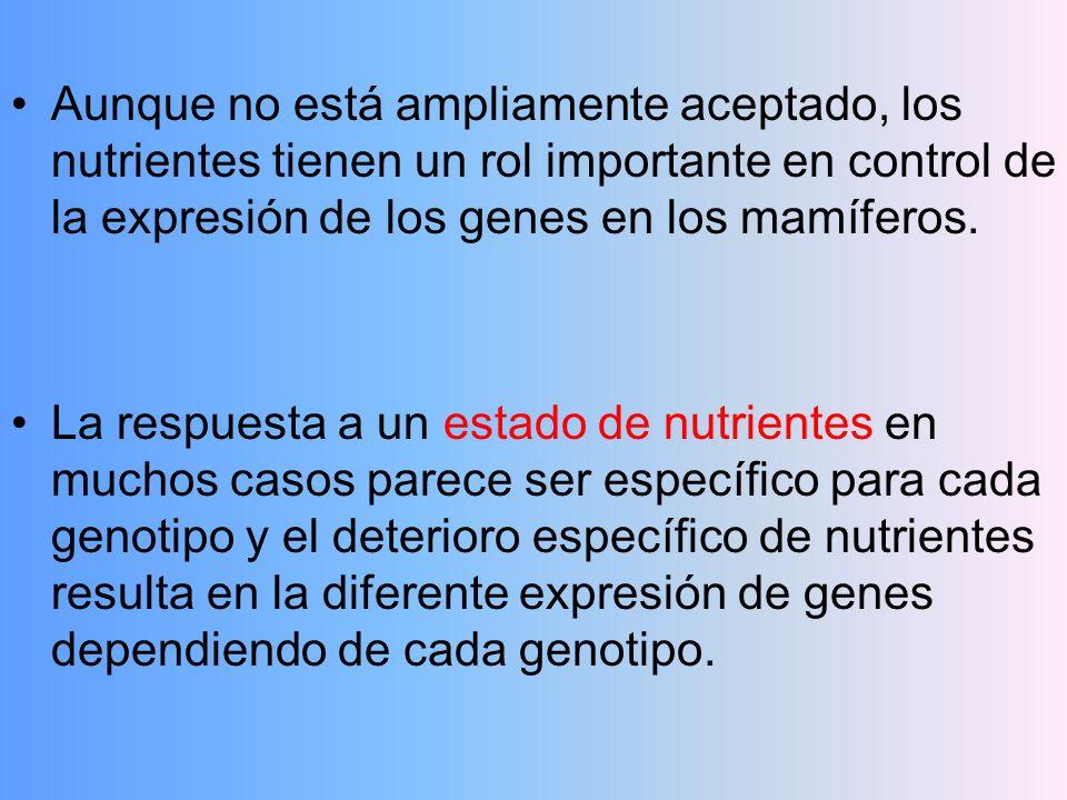 Aunque no está ampliamente aceptado, los nutrientes tienen un rol importante en control de la expresión de los genes en los mamíferos. La respuesta a