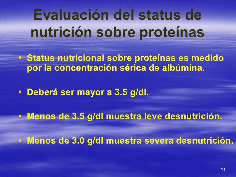11 Evaluación del status de nutrición sobre proteínas Status nutricional sobre proteínas es medido por la concentración sérica de albúmina. Deberá ser